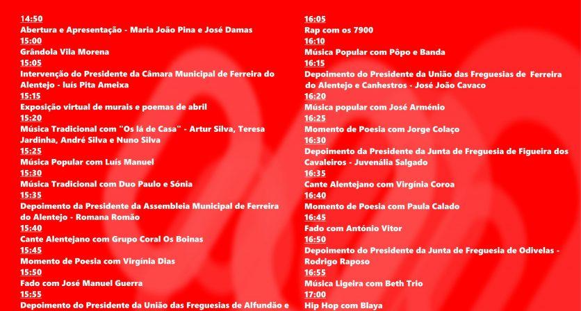 Cerimónia de comemoração do 25 de abril a partir do Facebook e Singa FM 1